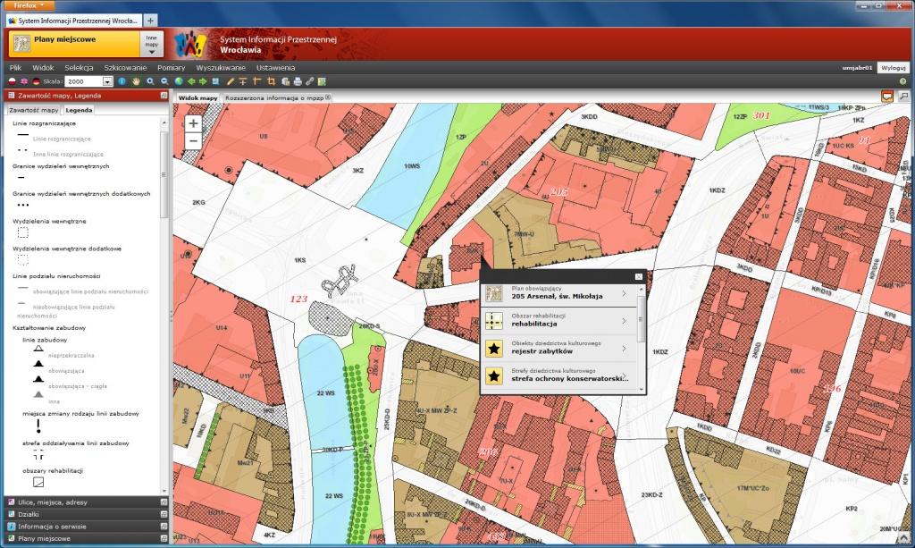 Rys. 1. Informacja o ustaleniach planu miejscowego dla wskazanej lokalizacji – odpowiedź oparta na wynikach wtórnej cyfryzacji rysunku planu.