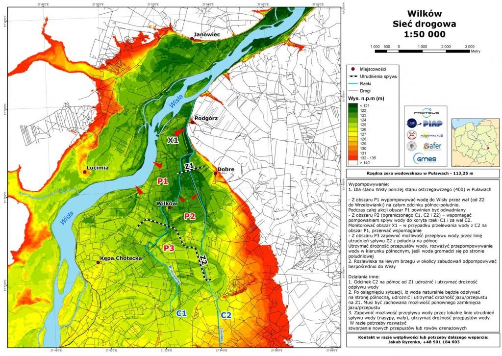 Rys. 2. Mapa rekomendacji osuszania wykonana na podstawie analiz hydrologicznych i geologicznych. Opracowanie wykonane dla gminy Wilków (powiat lubelski).