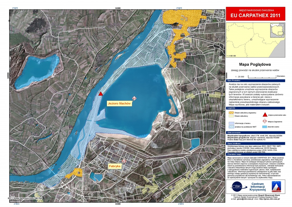Rys. 4. Mapa zasięgu symulowanej powodzi dla okolic Machowa wraz z identyfikacją zagrożonego obszaru zabudowy..