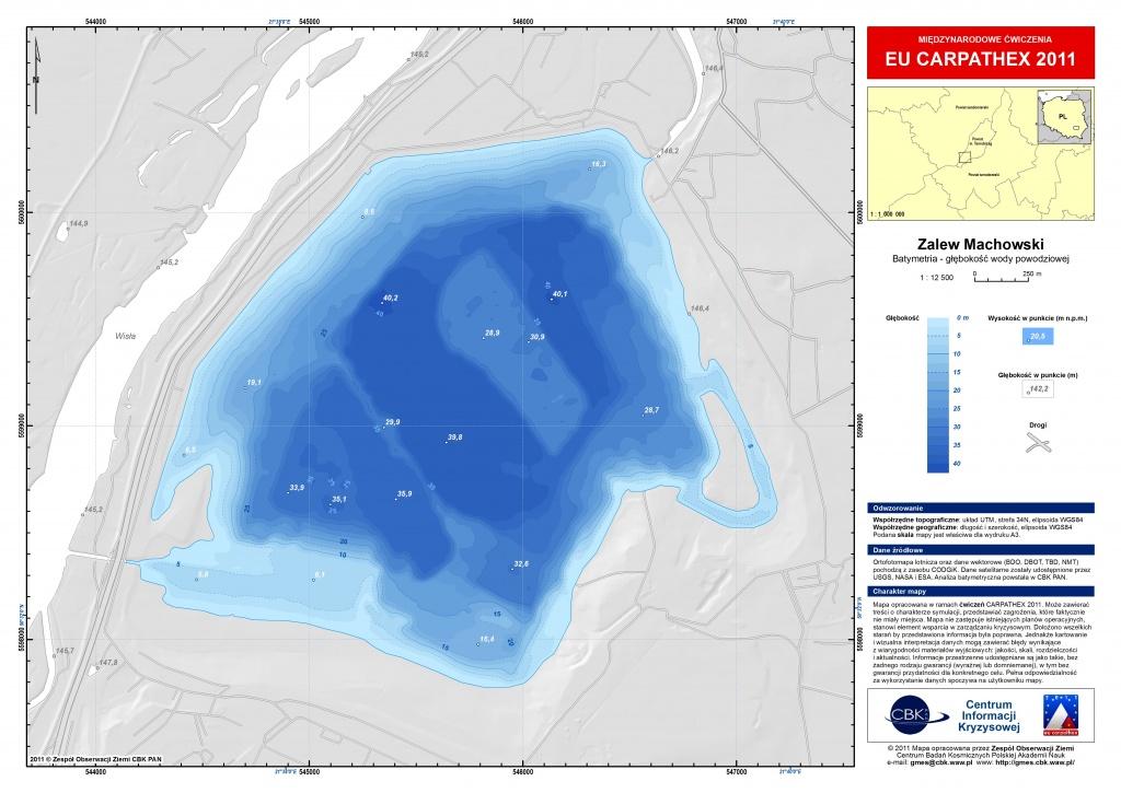 Rys. 5. Analiza obszaru powodzi (głębokość wody powodziowej), w całości wykonana w CBK, na podstawie obecnych i archiwalnych danych o ukształtowaniu rzeźby terenu.