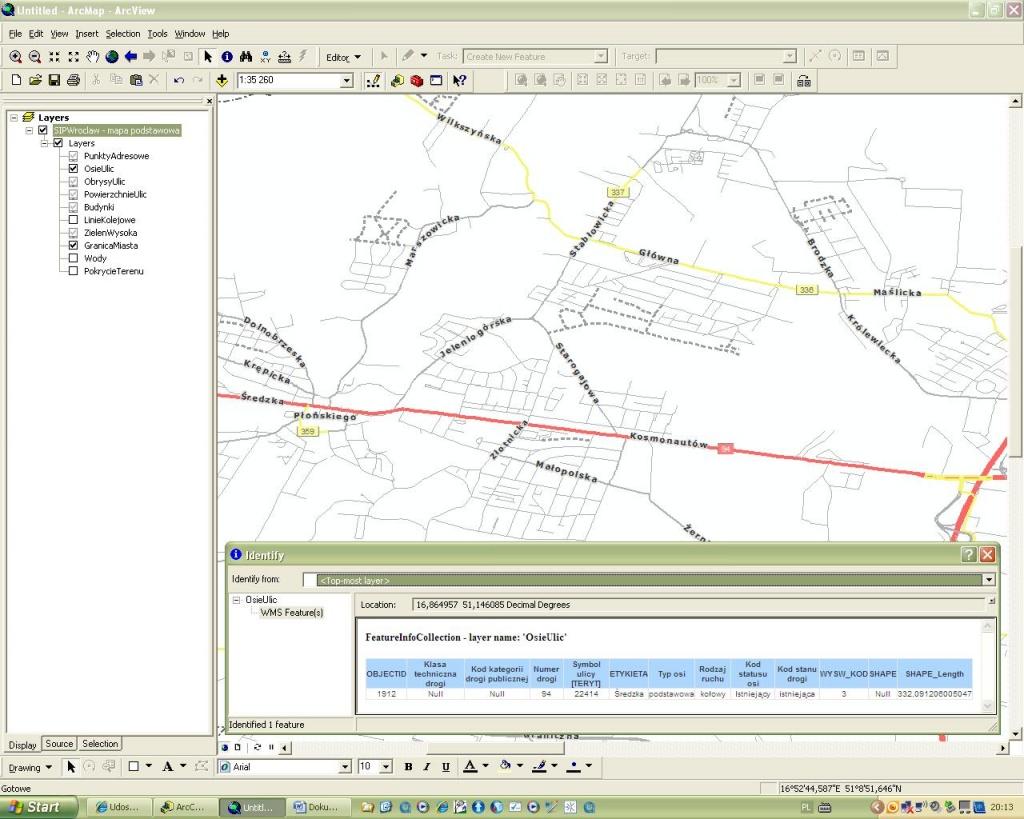Rys. 2. Mapa podkładowa sieci dróg na rozpatrywanym obszarze.
