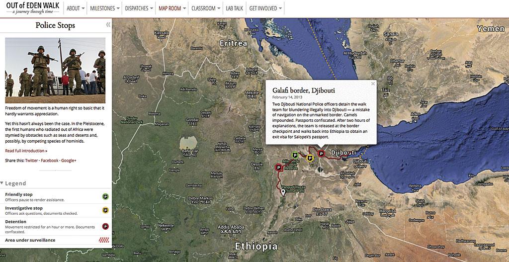 Rys. 3. Ta mapa należy do tych z gatunku żartobliwych. Pokazuje gdzie w czasie swojej podróży Salopek został zatrzymany przez policję. Mapa wykorzystana dzięki uprzejmości Harvard University Center for Geographic Analysis.