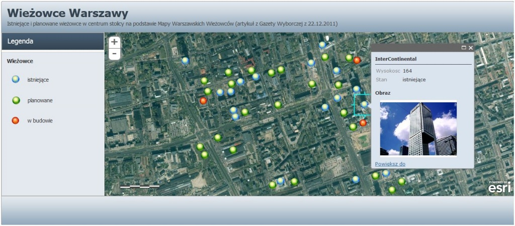 Rys. 3. Istniejące i planowane wieżowce w centrum Warszawy. Aplikacja wykonana w ArcGIS Online.