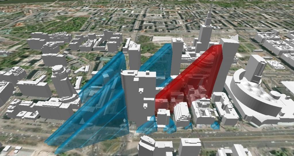 Rys. 4. i rys. 5. Analiza zacienienia budynków w okolicy budowy wieżowca Złota 44 w dniu 9 kwietnia 2012 roku o godzinie 9:30.