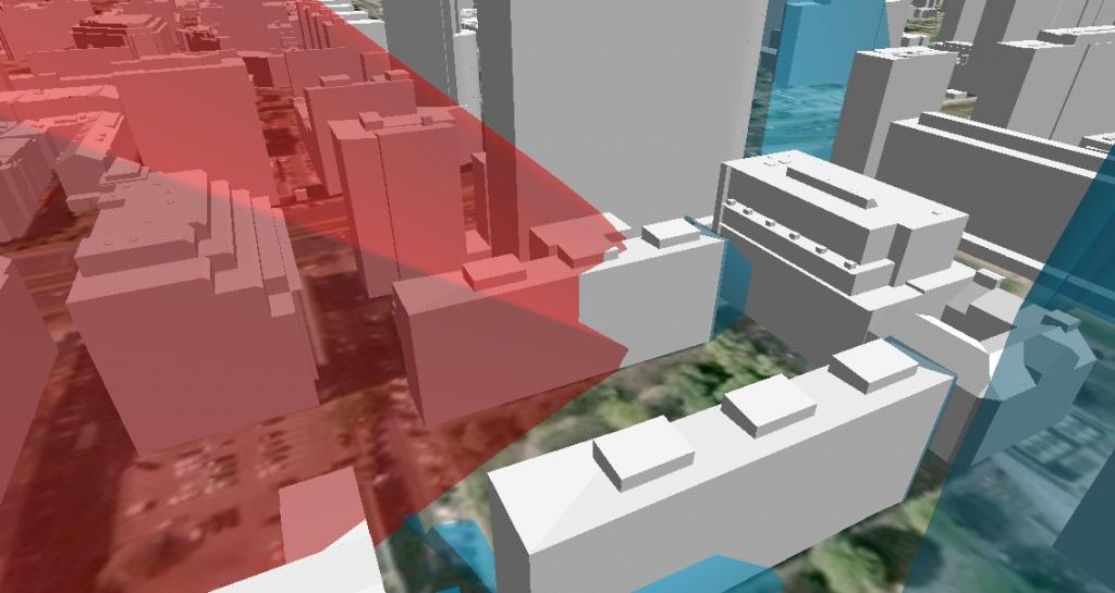 Rys. 6. Zacienienie budynku przy ul. Pańskiej 5 w dniu 9 kwietnia 2012 roku o godzinie 9:30.