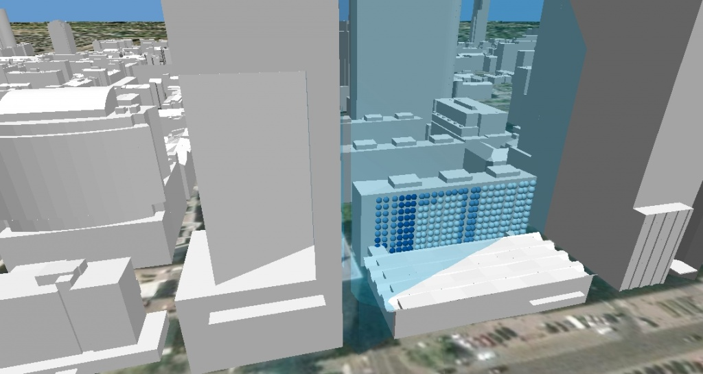 Rys. 7. Zacienienie okien bloku mieszkalnego przy ul. Pańskiej 3 przez budynek hotelu InterContinental w dniu 9 kwietnia 2012 roku.