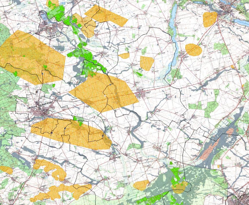 Rys. 2. Analizy wstępne – kombinacja czynników geologicznych warunkujących przebieg inwestycji (grunty organiczne, wysokie zwierciadło wód gruntowych, obszary wydobycia kopalin).