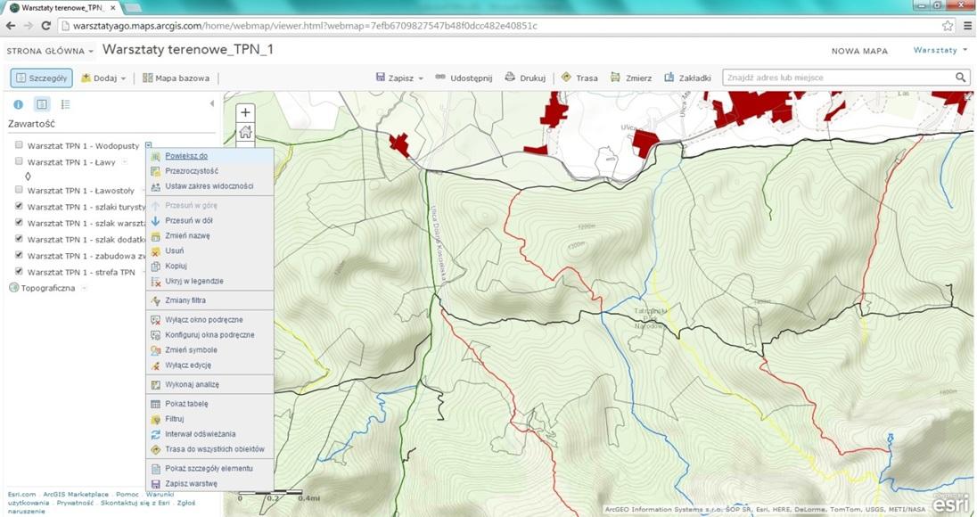 Konfigurowania widoku mapy w ArcGIS Online