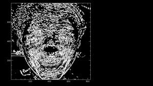 """Rys.2. Wizualizacja trajektorii przemieszczania się zidentyfikowanych obszarów reprezentujących tę samą jasność w trakcie trwania emocji """"radość"""" wygenerowana ze zdjęć jednej z osób poddanych badaniu. Czas obserwacji równy 1 s."""