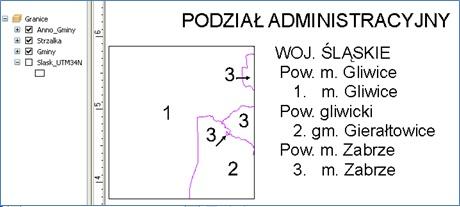 Rys. 6. Dynamiczne wyświetlanie podziału administracyjnego arkusza mapy.