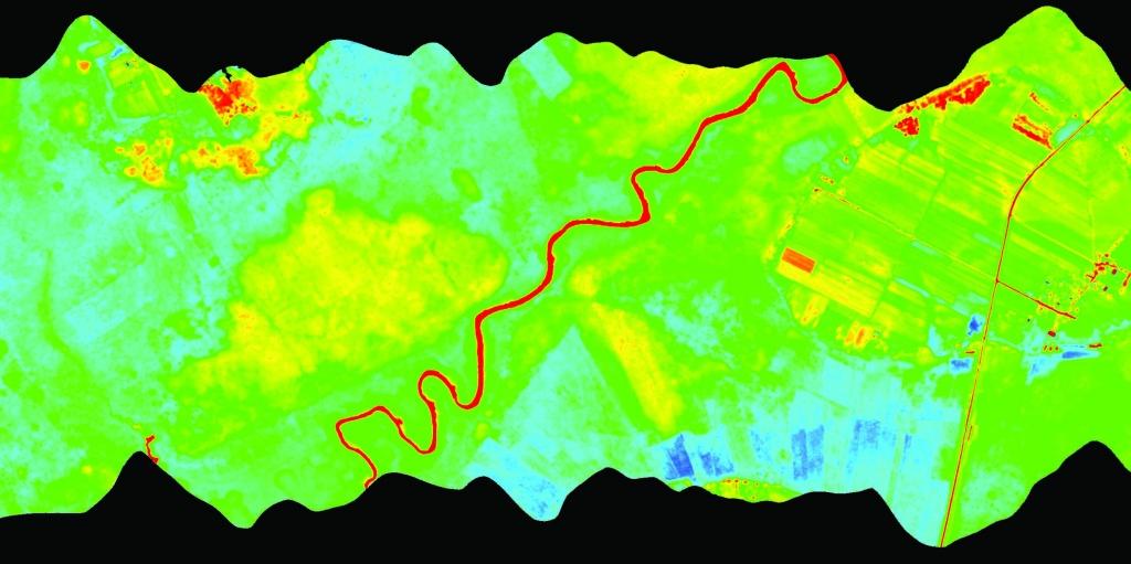 Rys. 1. Wielosensorowe kolekcje danych. Od góry zobrazowanie wielospektralne, hiperspektralne i termalne.