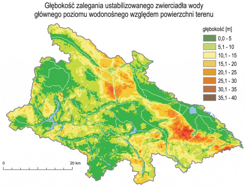 Analizy GIS: głębokość zalegania ustabilizowanego zwierciadła