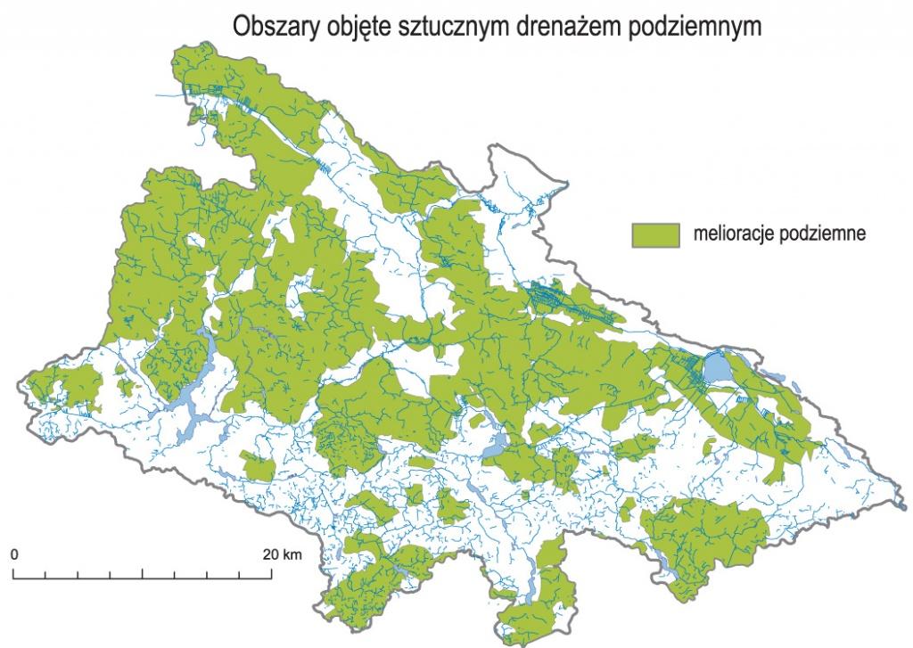 Analizy GIS: obszary objęte sztucznym drenażem podziemnym