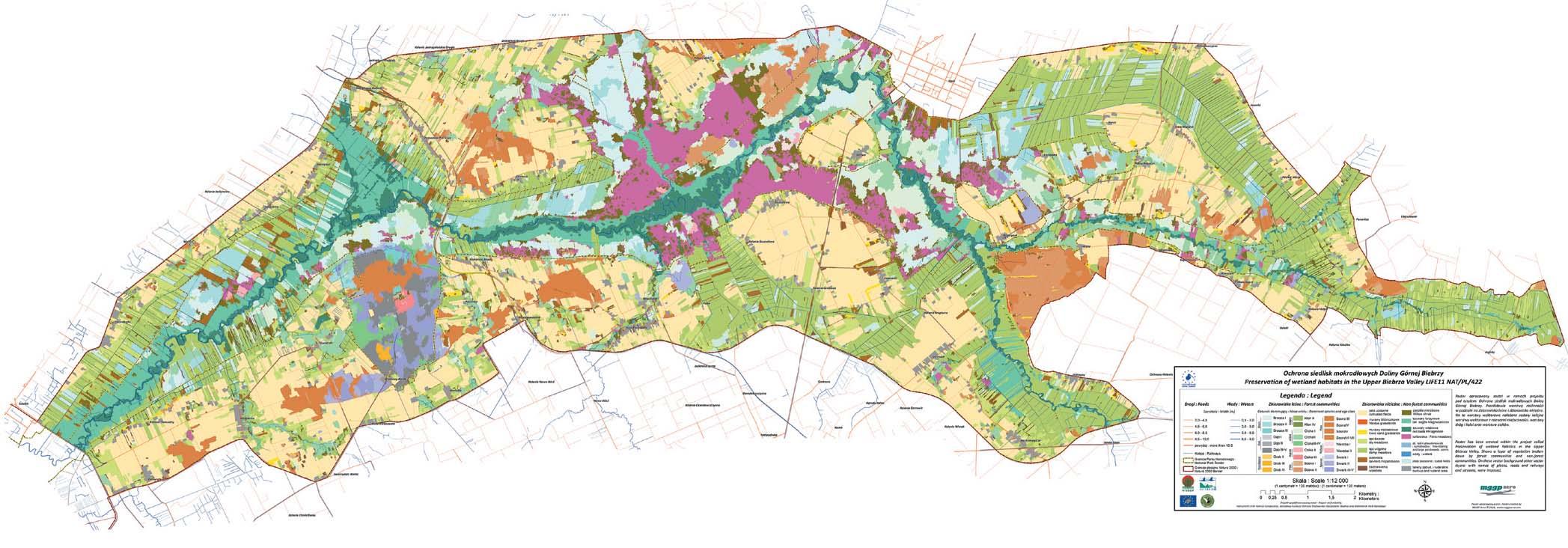 Rys. 4. Mapa roślinności doliny Górnej Biebrzy opracowana metodami teledetekcyjnymi.