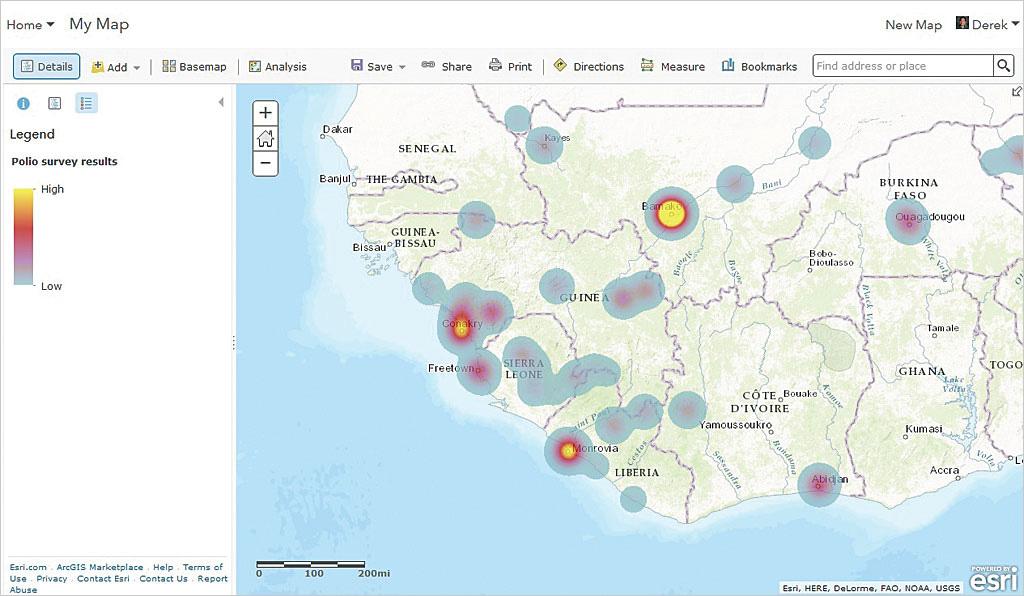 Rys. 4. Do wizualizacji danych ankietowych możesz wykorzystać narzędzia do inteligentnego mapowania i analiz dostępne w ArcGIS Online Map Viewer.