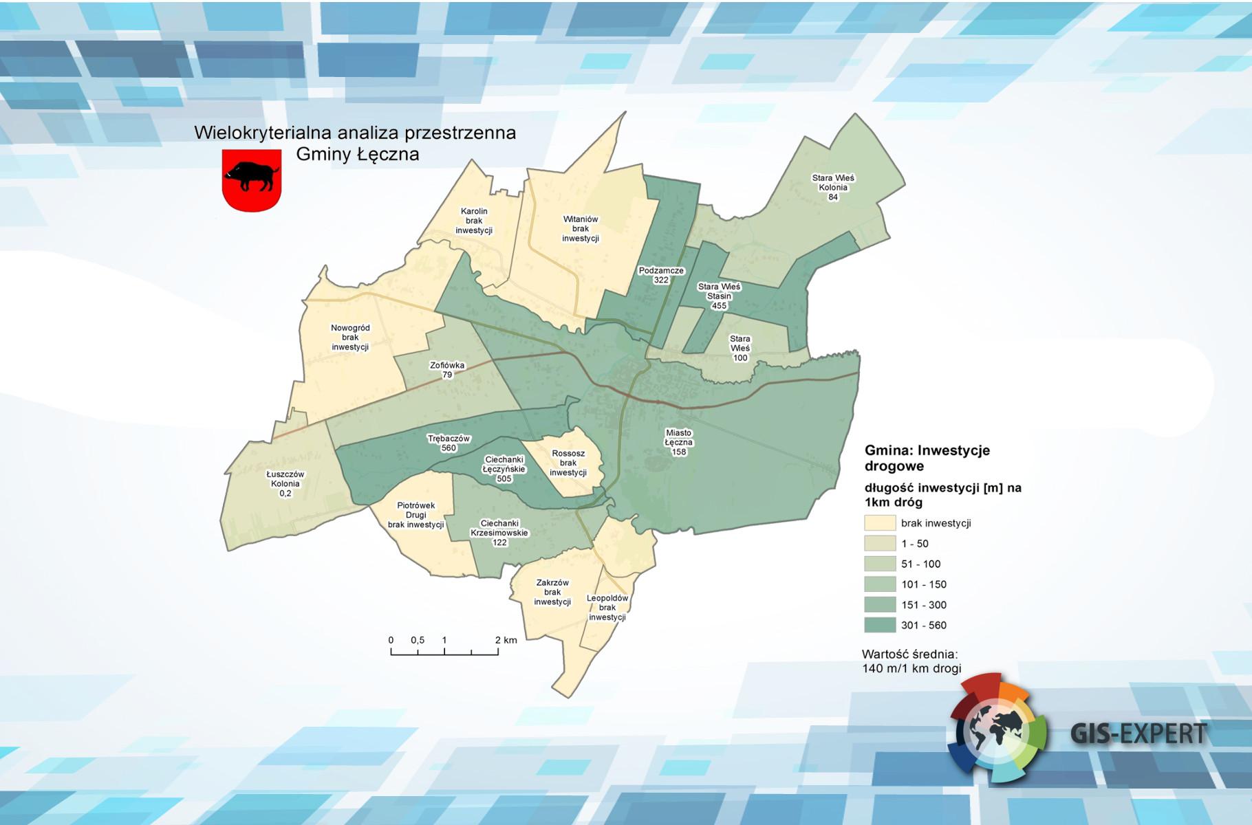 Rys. 2. Przykładowa mapa prezentująca zjawisko sfery gospodarczej - inwestycje drogowe