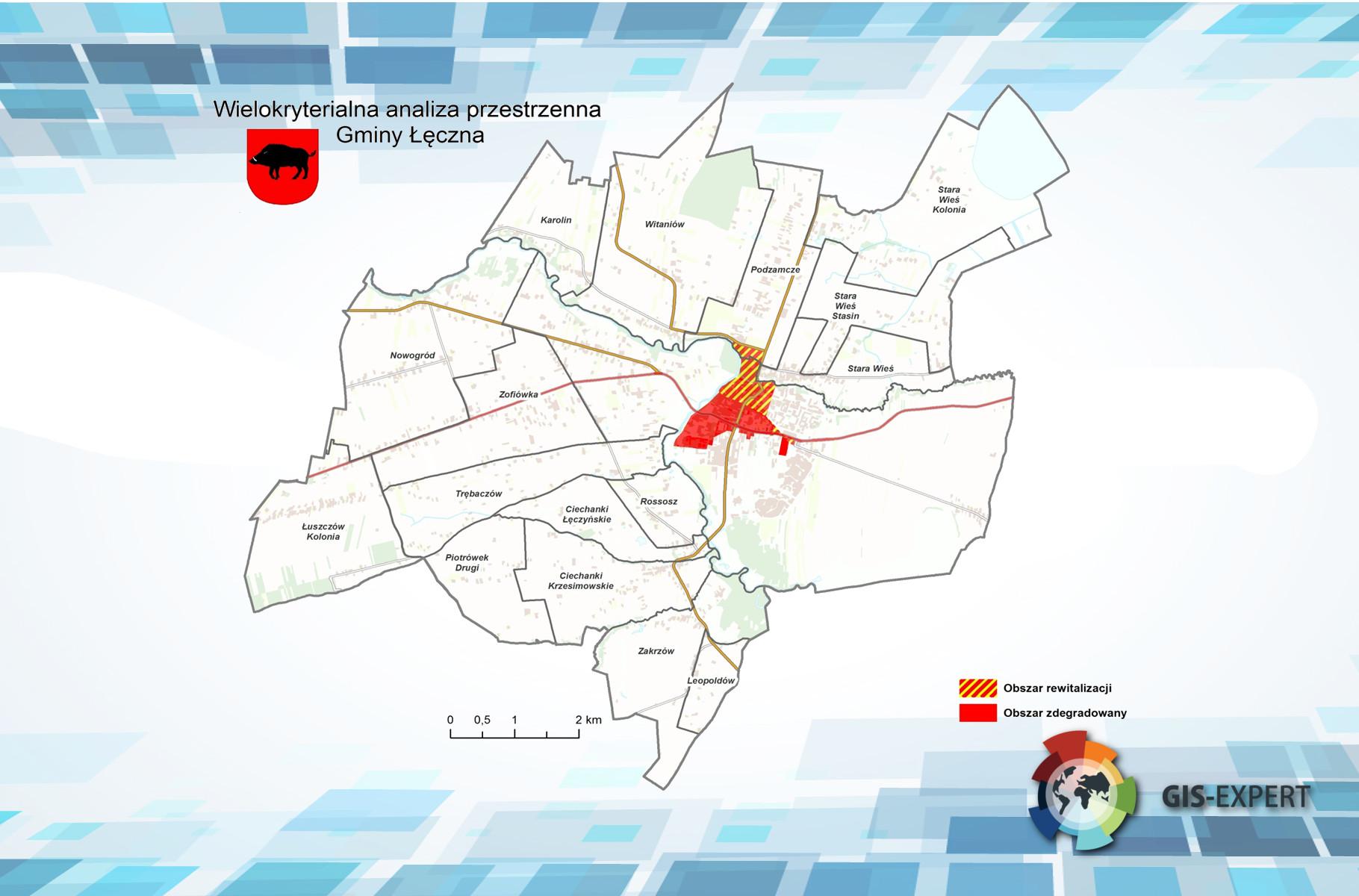 Rys. 4. Przykładowa mapa prezentująca obszar zdegradowany oraz obszar rewitalizacji