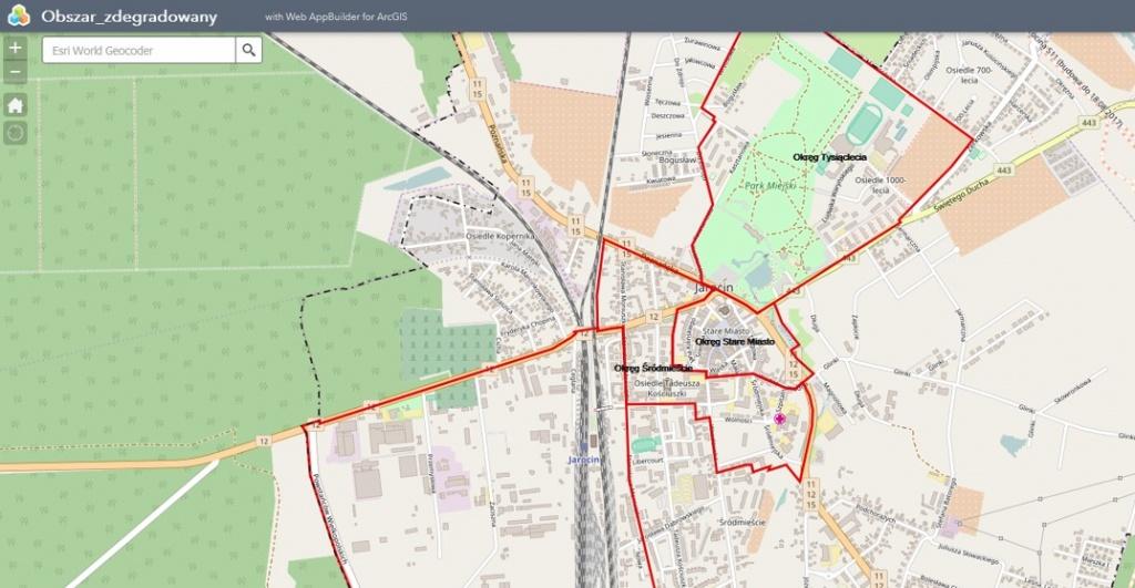 Rys. 4. Aplikacja mapowa – obszar zdegradowany.