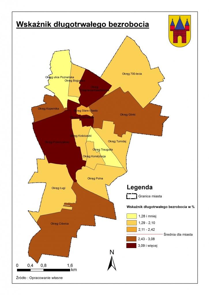 Rys. 2. Mapa długotrwałego bezrobocia w Jarocinie.