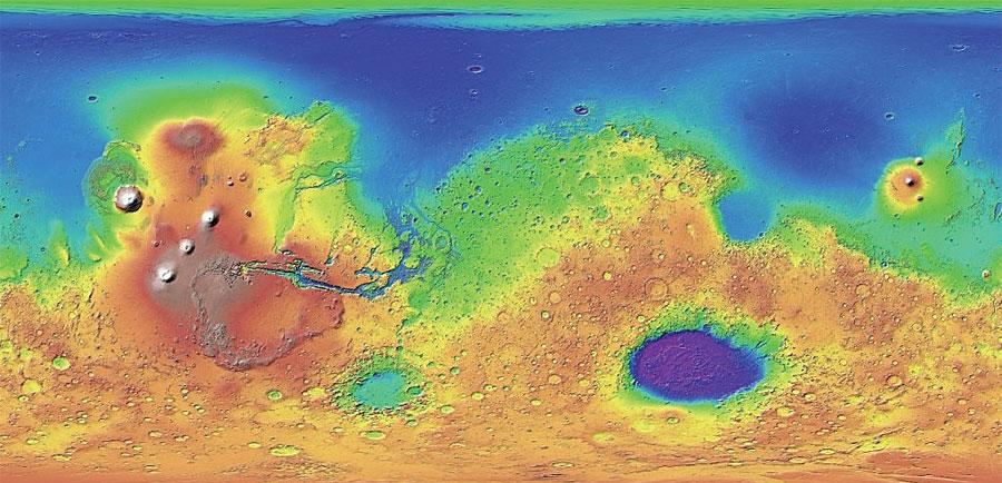 Rys. 2. Numeryczny model wysokości (DEM) Marsa utworzony na podstawie danych Mars Orbiter Laser Altimeter (MOLA), zarejestrowanych z rozdzielczością 463 m x 463 m podczas misji Mars Global Surveyor.