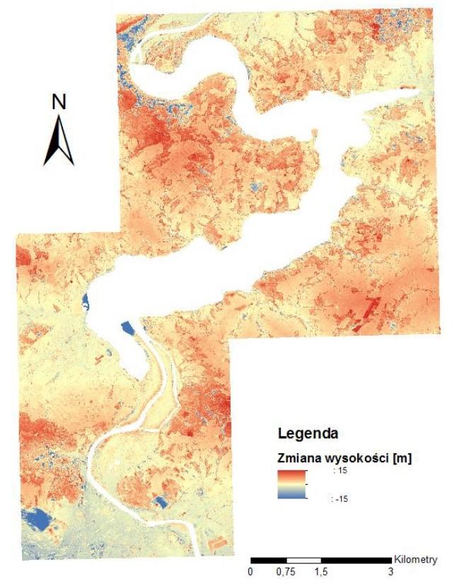 Rys. 5. Zmiany krajobrazu w latach 1995 – 2015.
