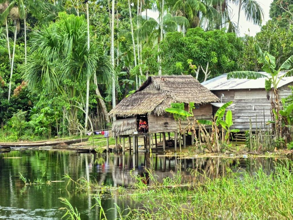 Podtopiona wioska Vendaval plemiona indian Ticuna w Brazylii.