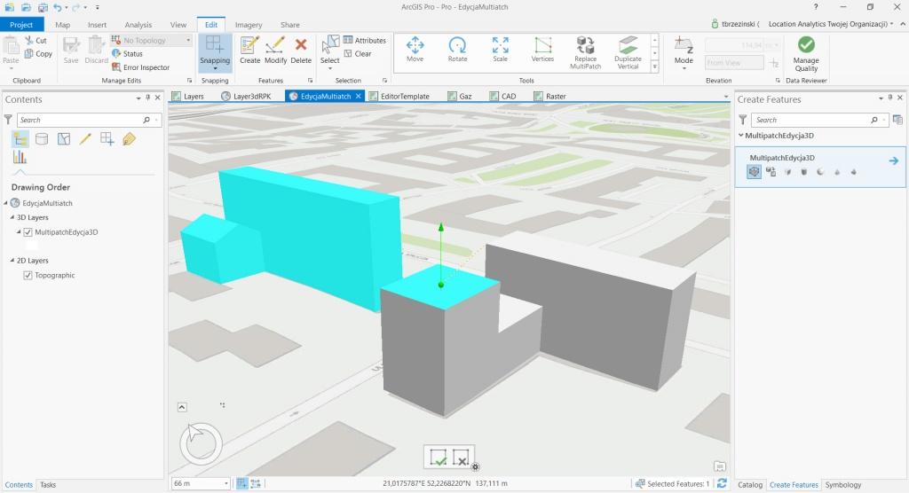 Rys. 2. Narzędzie do edycji obiektów w 3D.