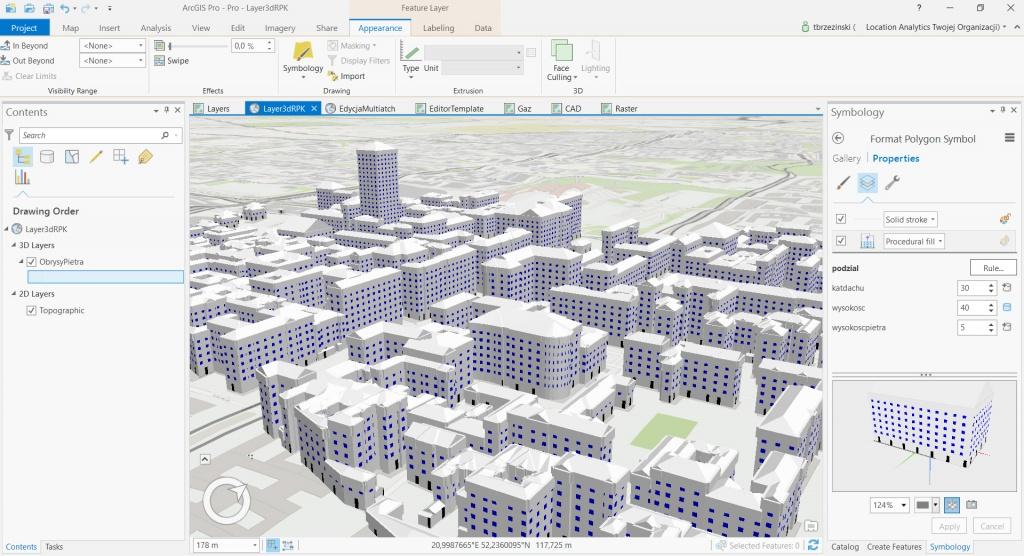 Rys. 3. Widok na budynki wygenerowane na podstawie ich obrysów w oparciu o reguły .rpk.