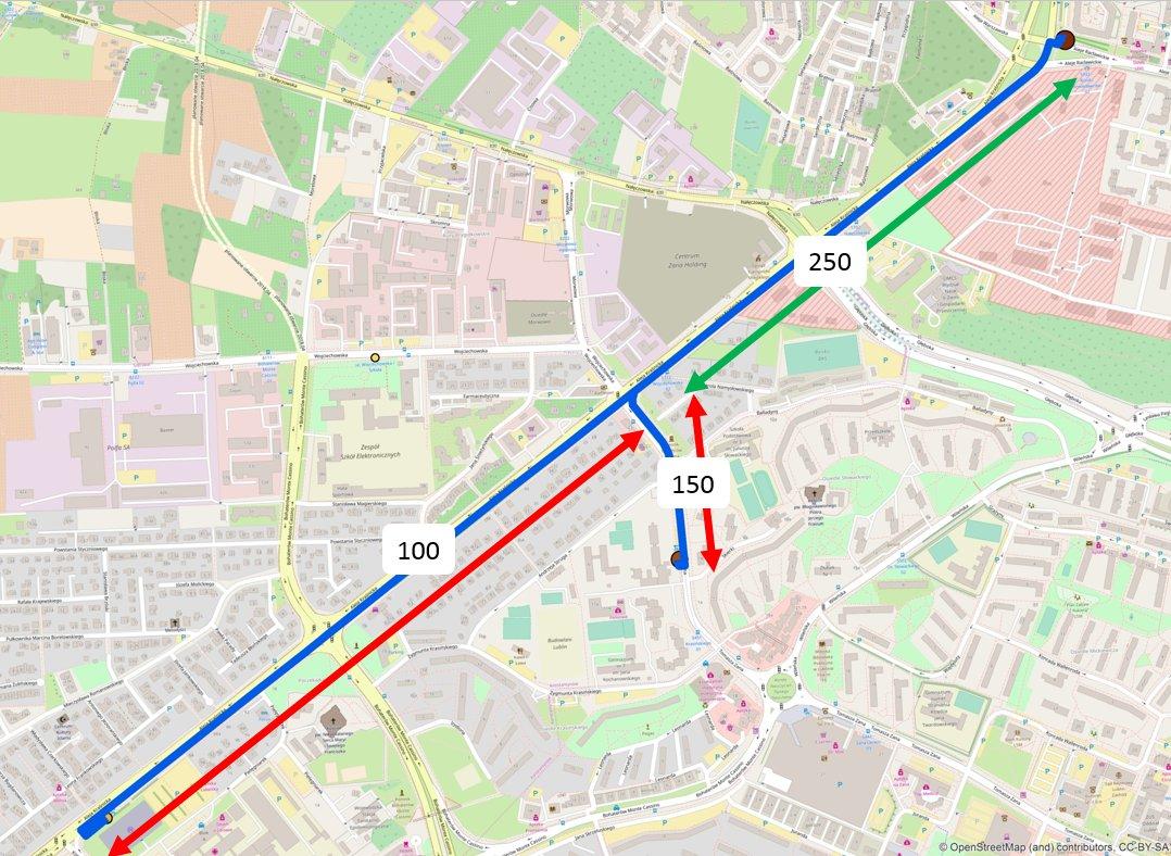 Rys. 6. Sytuacja, w której trasy mają częściowo wspólny przebieg – warstwa nie zawiera informacji o łącznej liczbie przejazdów na zielonym fragmencie.