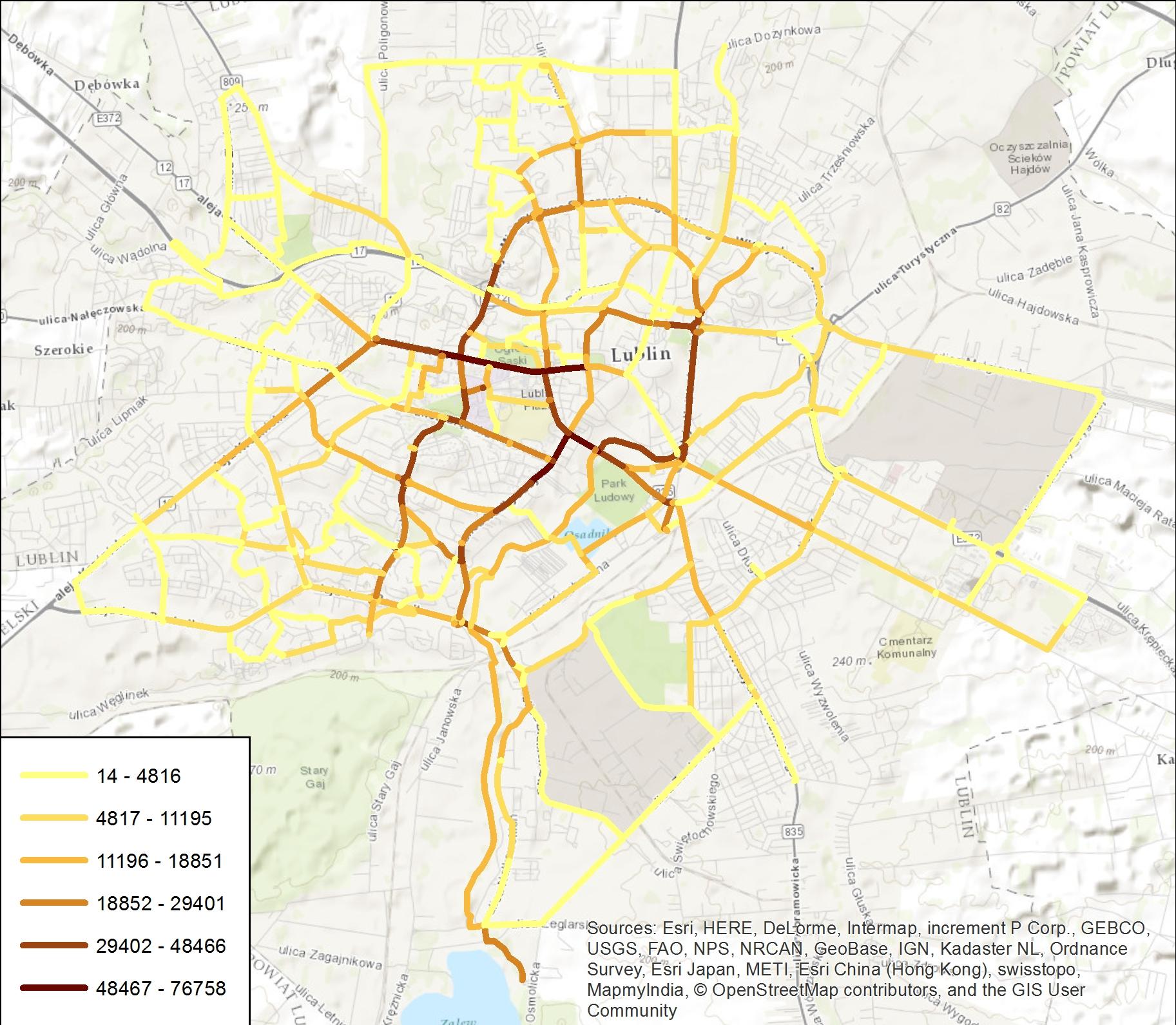 Rys. 7. Warstwa, w której każdy odcinek jest opisany przez liczbę wypożyczonych rowerów systemu LRM.