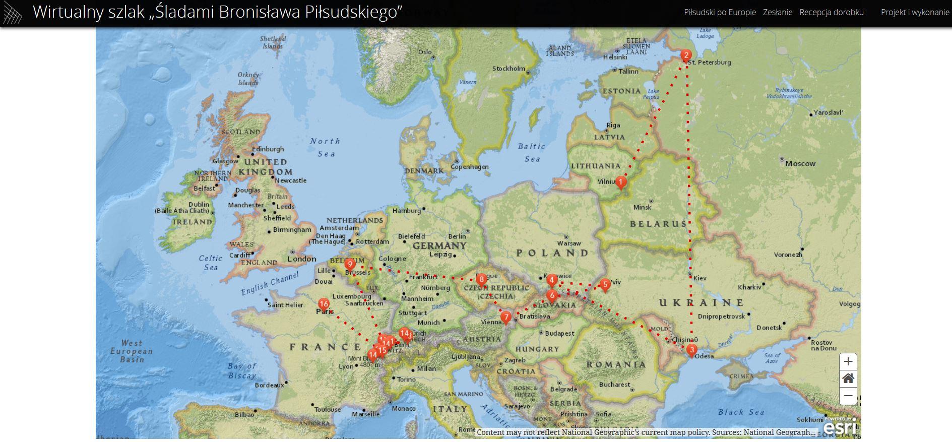 Rys. 1. Mapa podróży Bronisława Piłsudskiego po Europie