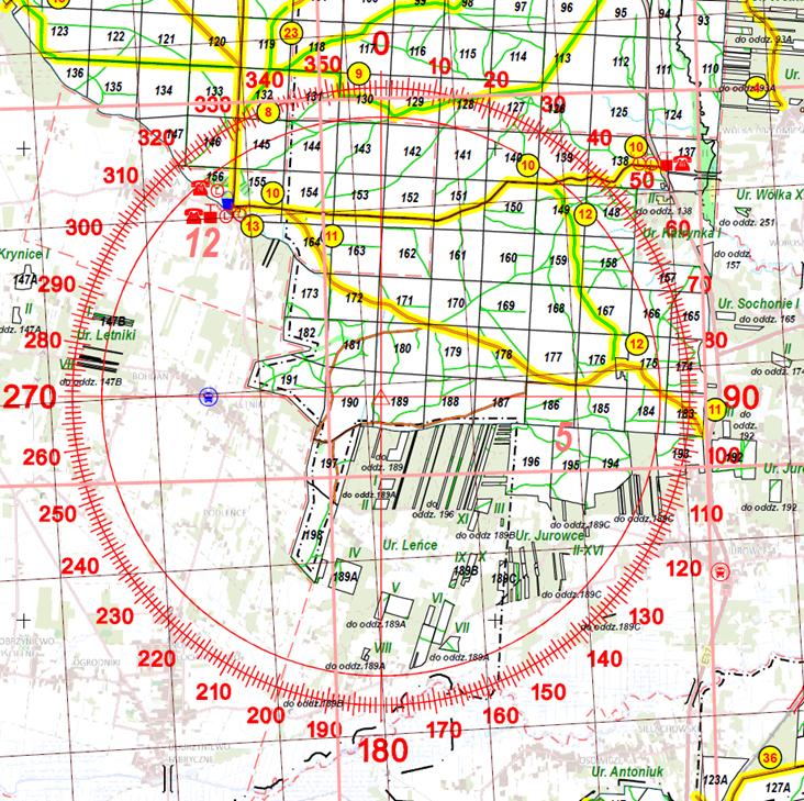 Rys. 4. Fragment mapy ochrony przeciwpożarowej lasów.