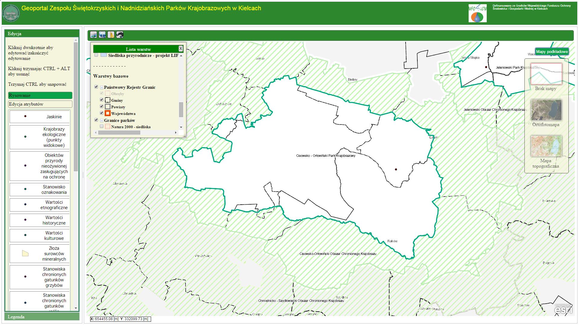 Rys. 1. Geoportal edycyjny - widok podstawowy.