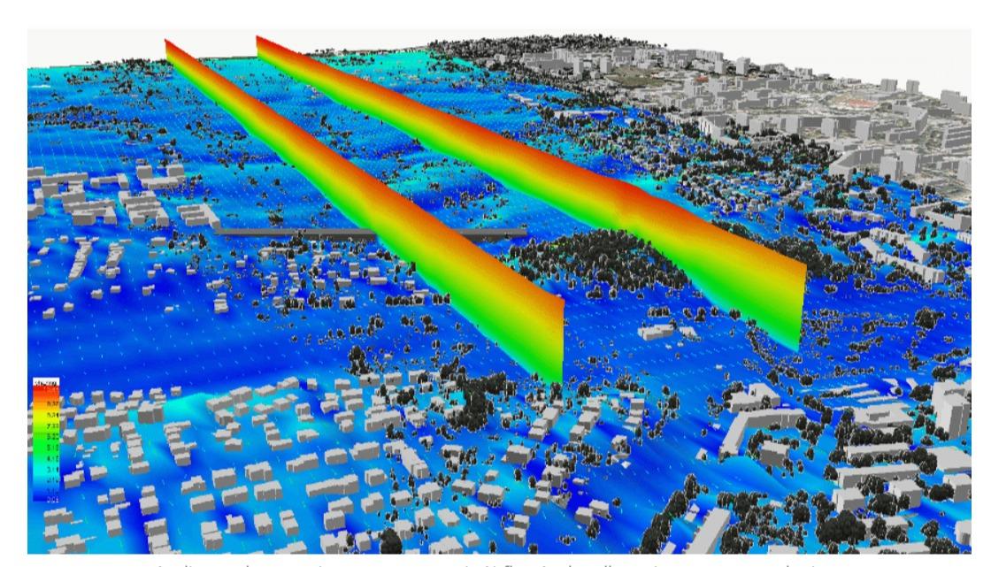 Rys. 2. Analiza z wykorzystaniem oprogramowania Airflow Analyst dla wariantu ze sztuczną barierą.