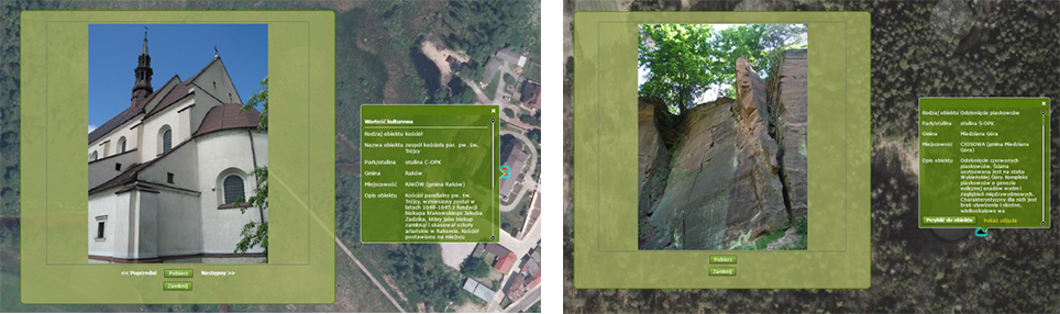 Rys. 3. Sprawdzanie atrybutów i zdjęć dla obiektów w geoportalu prezentacyjnym.
