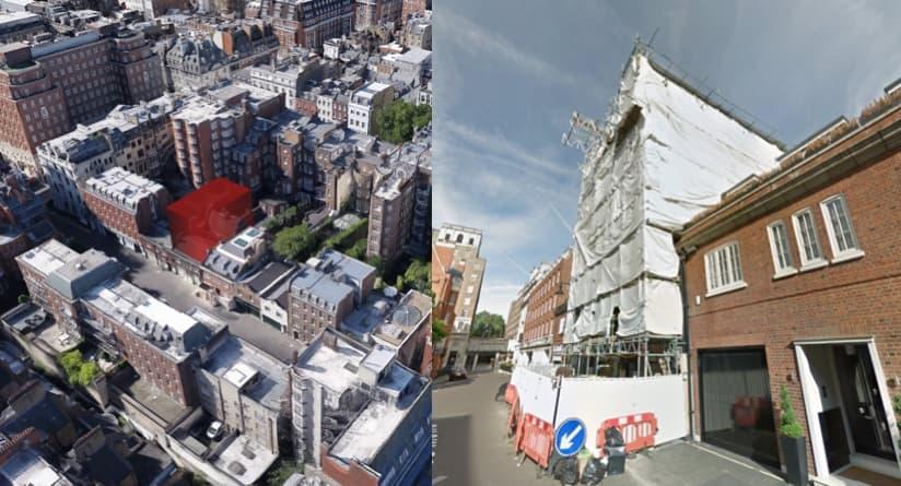 Rys. 2. Zaznaczona przestrzeń nad budynkiem 42 Reeves Mews w Mayfair to jedna z wielu działek nadających się do nadbudowy. Niedawno taki scenariusz zatwierdziła Rada Westminster; w rezultacie dobudowywane są dwa niezależne mieszkania, co podwaja powierzchnię użytkową budynku.