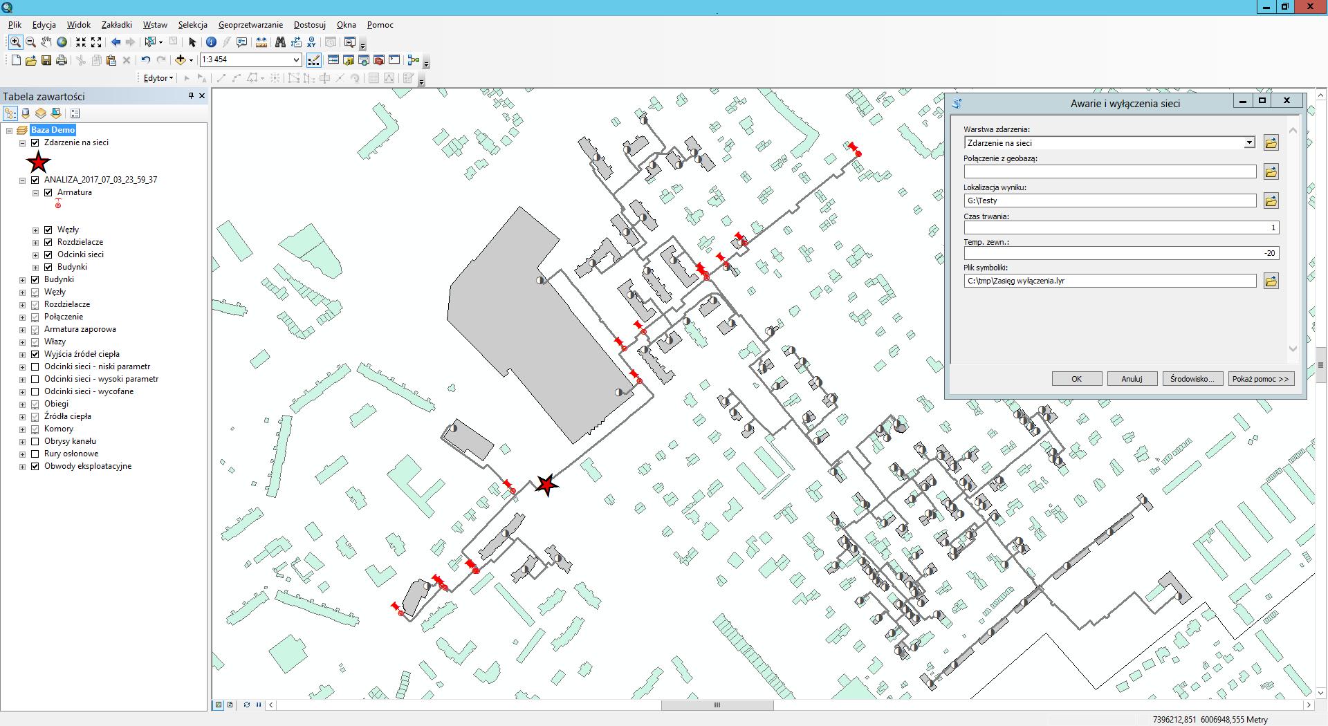 Przykład 5. Zasięg wyłączenia jako wynik analizy GIS.