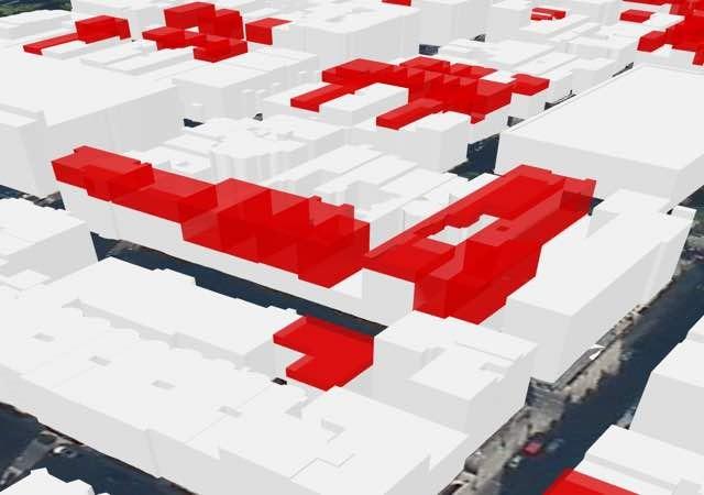 Rys. 1. Analitycy utworzyli numeryczny model dla każdej grupy budynków uwzględniając najwyższy budynek w każdej z nich.