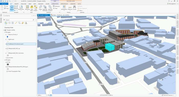 Rys. 1. Wykorzystanie narzędzi ArcGIS do zbadania zależności między projektem koncepcyjnym przebudowy urbanistycznej i otoczeniem.