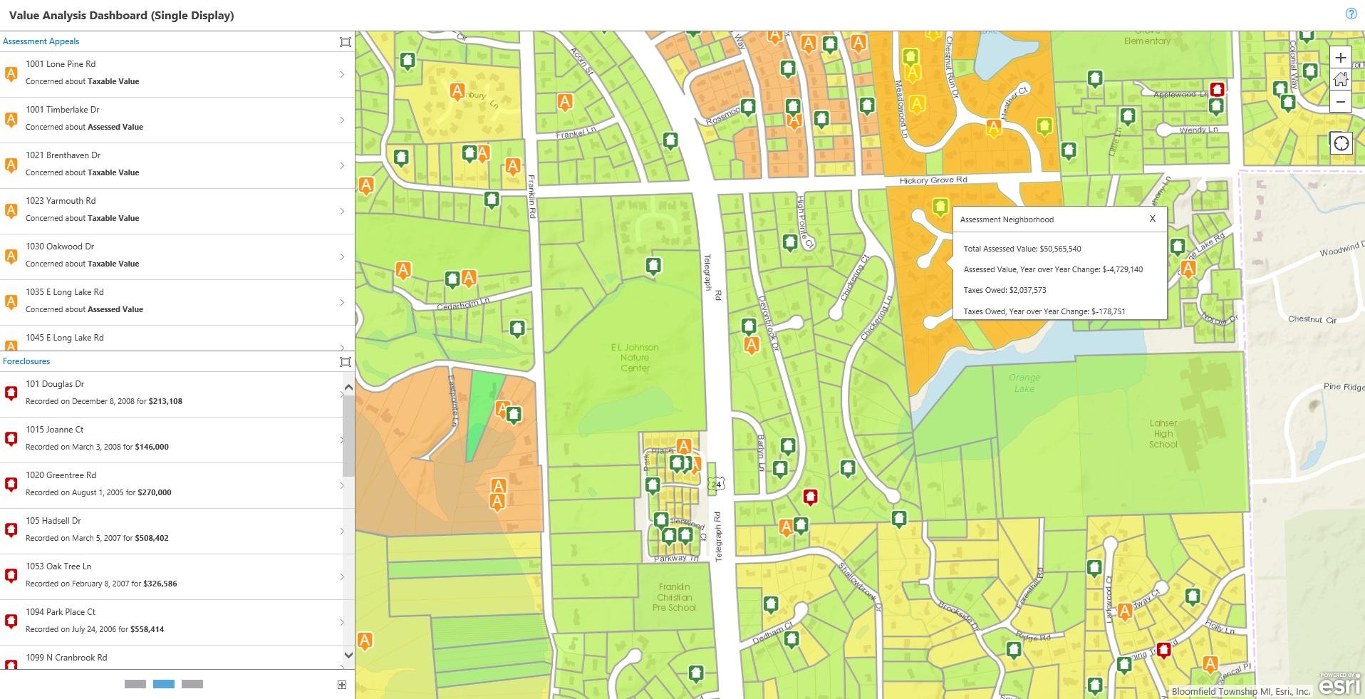 Rys. 3. Asesorzy używają pulpitów menedżerskich i narzędzi opartych na mapach, aby zrozumieć trendy i wzorce wyceny nieruchomości.