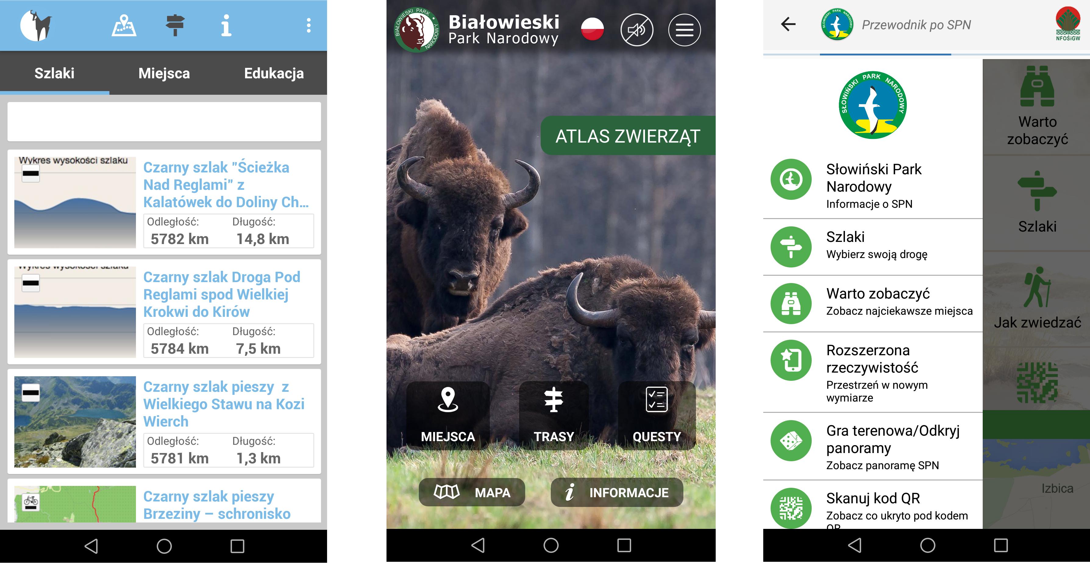 Rys. 2 Aplikacje mobilne Tatrzańskiego PN (po lewej), Białowieskiego PN oraz Słowińskiego PN (po prawej).