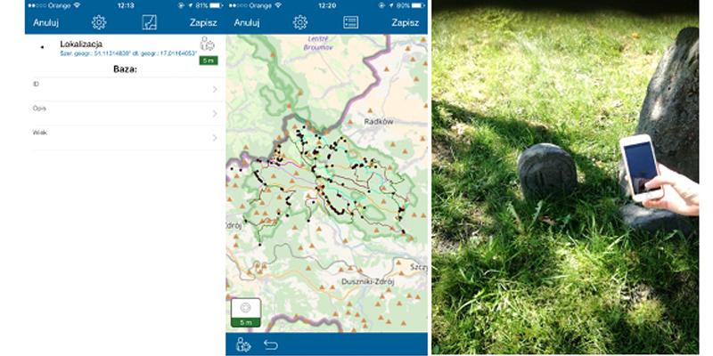 Rys. 5 Interfejs aplikacji Collector for ArcGIS z danymi przygotowanymi do pomiaru oraz pomiar terenowy przy użyciu aplikacji.