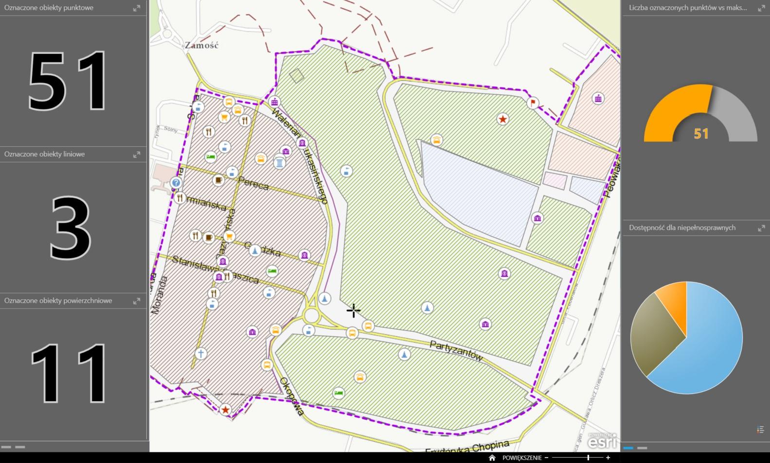 Rys. 4. Pulpit Operations Dashboard prezentujący jedną z opracowanych map.