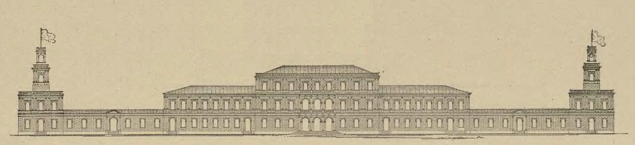 Rys.2. Rycina przedstawiająca rzut elewacji Dworca Wiedeńskiego (źródło: Wielka Encyklopedia Ilustrowana z 1896 r.).
