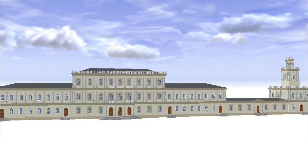Rys. 3. Widok modelu 3D Dworca Wiedeńskiego (źródło: opracowanie własne w CityEngine).