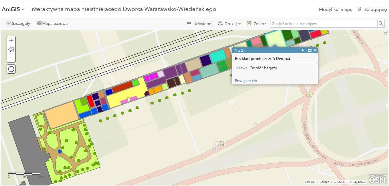 Rys. 4. Interaktywna mapa Dworca Wiedeńskiego (źródło: opracowanie własne w ArcGIS Online).