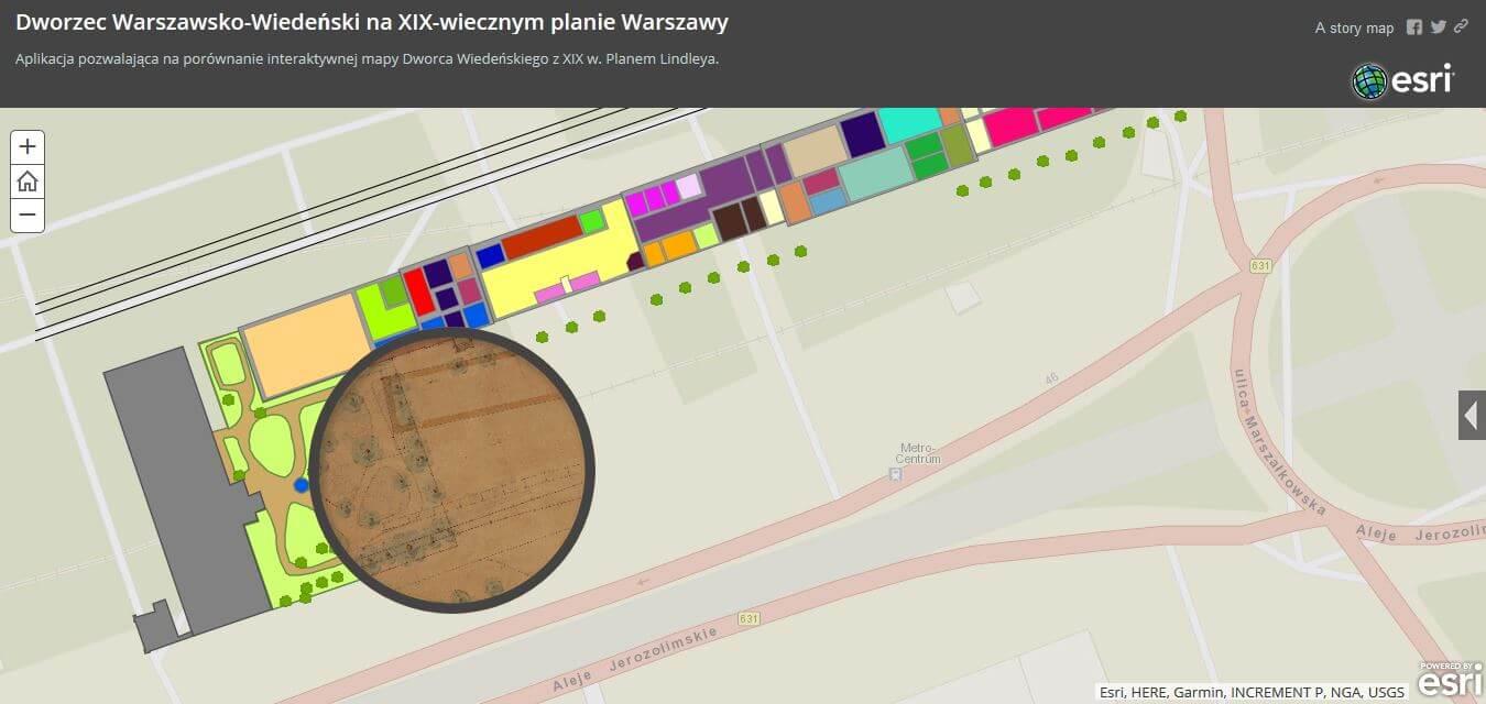 """Rys. 5. Aplikacja """"Dworzec Wiedeński na XIX wiecznym planie Warszawy"""" (źródło: opracowanie własne w ArcGIS Online)."""