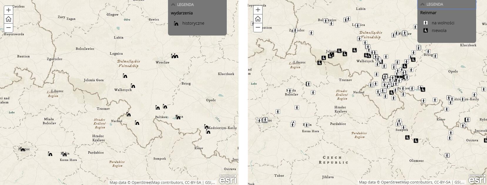 Ryc. 5. Mapy tematyczne przedstawiające wydarzenia historyczne w trylogii husyckiej oraz miejsca, wktórych Reynevan podróżował jako jeniec lub był w niewoli