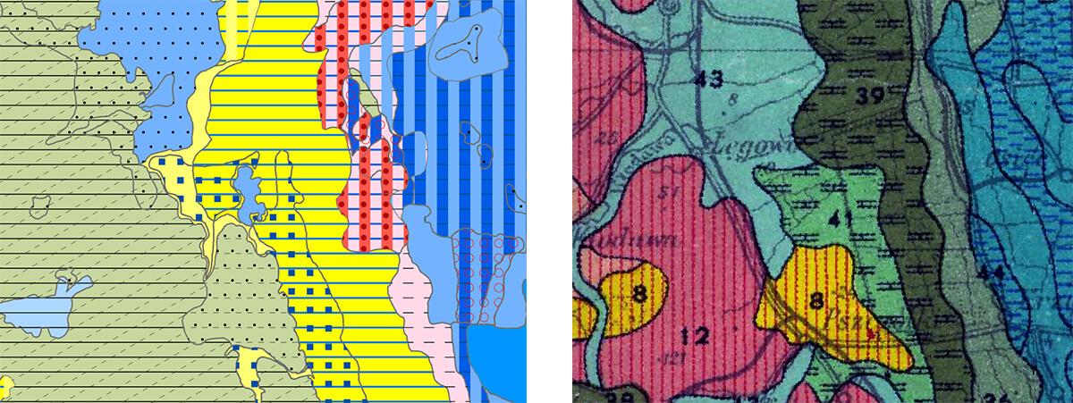 Ryc 5. Porównanie wycinka opracowanej mapy i mapy gleb Polski z 1961 roku. Widoczne podobieństwa w zarysie kształtów obszarów