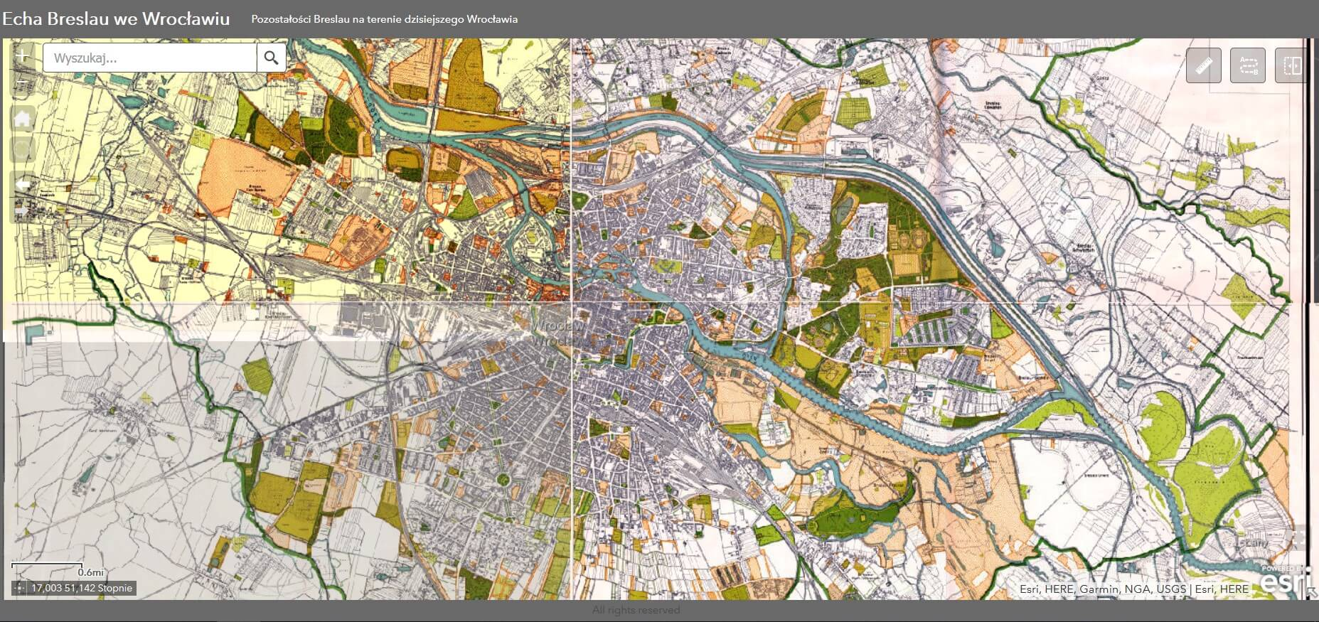 Rys. 1. Mapa Wrocławia w skali 1 do 10 000 z 1934 r.